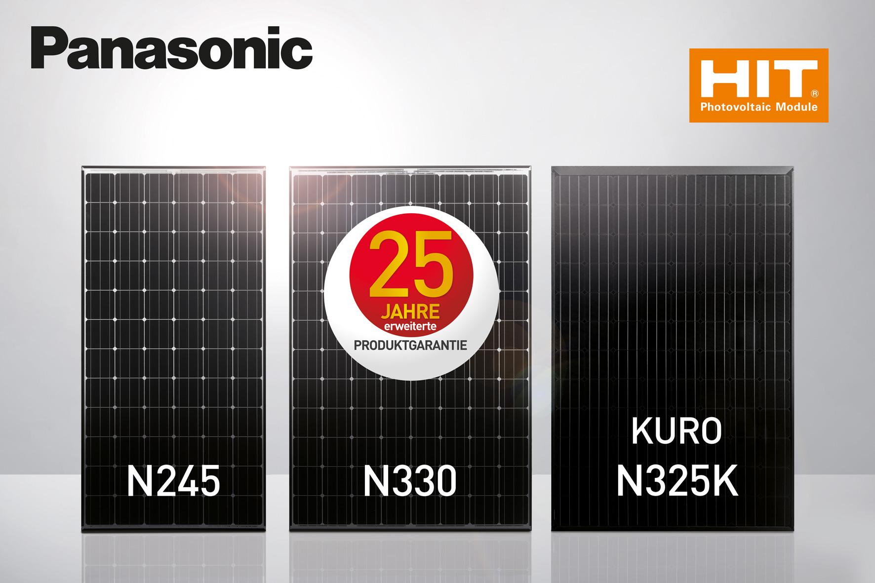 Verschiedene Größen von Panasonic Solarmodulen